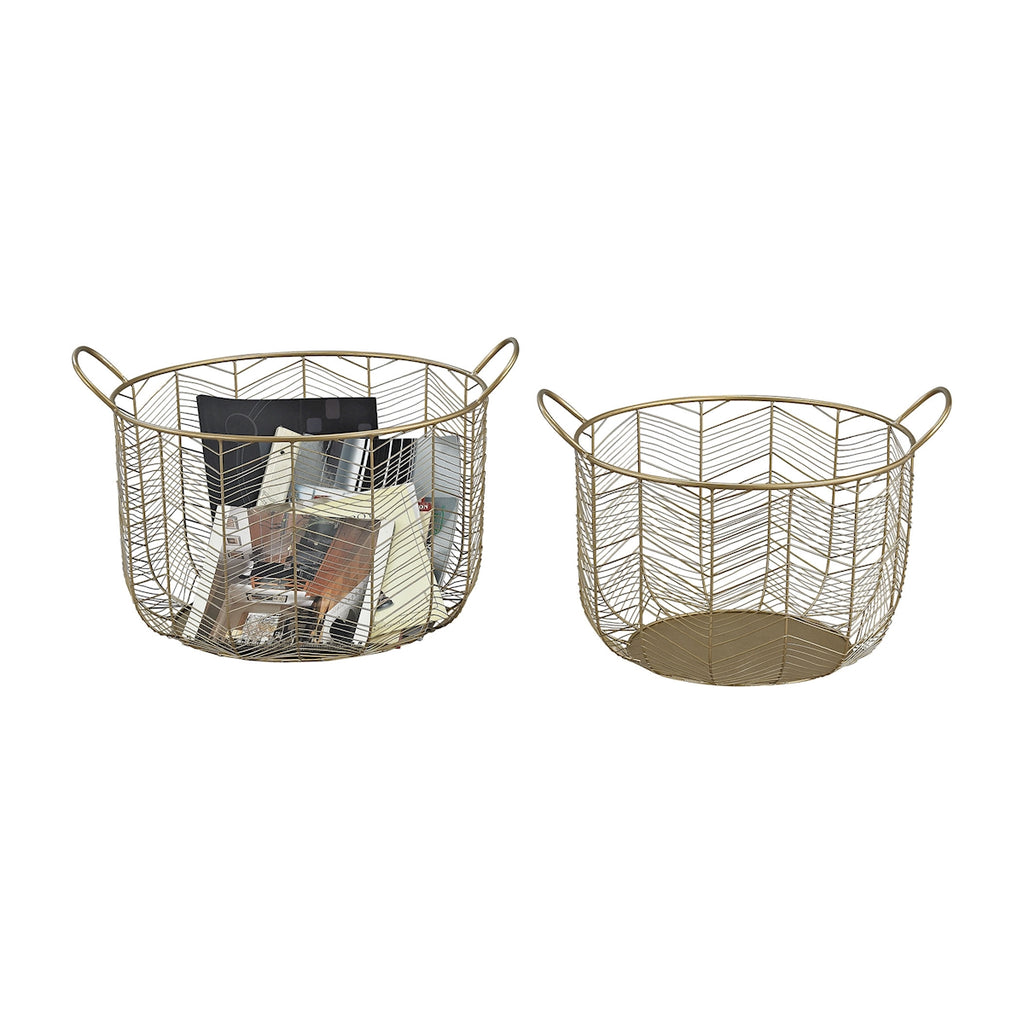351-10222/S2 Tuckernuck 2-Piece Metal Bowl Set In Gold, Basket, Elk Home, - ReeceFurniture.com - Free Local Pick Ups: Frankenmuth, MI, Indianapolis, IN, Chicago Ridge, IL, and Detroit, MI