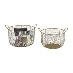 351-10222/S2 Tuckernuck 2-Piece Metal Bowl Set In Gold - Free Shipping!, Basket, Sterling, - ReeceFurniture.com - Free Local Pick Ups: Frankenmuth, MI, Indianapolis, IN, Chicago Ridge, IL, and Detroit, MI