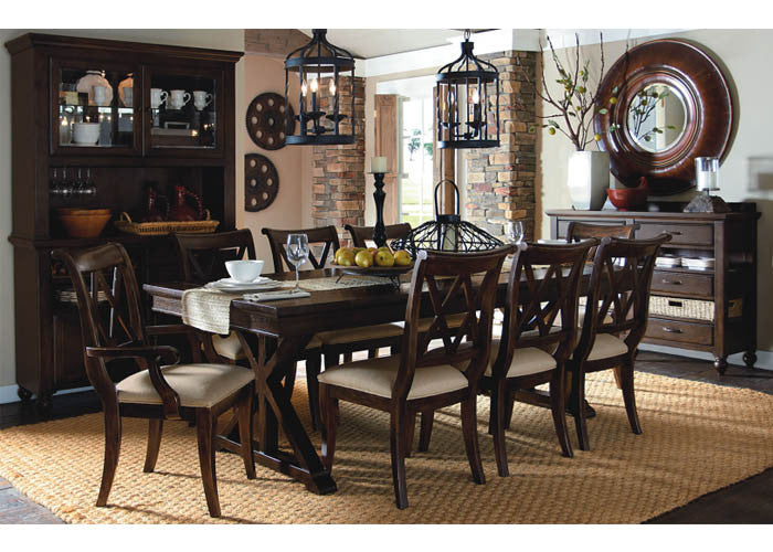 3700 Thatcher 5 Piece Trestle Table & 4 X Back Side Chairs, Formal Dining Room, Legacy Classic Furniture, - ReeceFurniture.com - Free Local Pick Ups: Frankenmuth, MI, Indianapolis, IN, Chicago Ridge, IL, and Detroit, MI