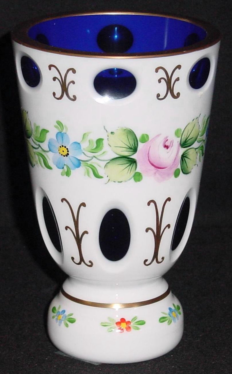 455004 Cobalt Oberlay W/6 Ea Round & Oval Cuts W/Pnd Flowers Btwn, Bohemian Glassware, Kosherak, - ReeceFurniture.com - Free Local Pick Ups: Frankenmuth, MI, Indianapolis, IN, Chicago Ridge, IL, and Detroit, MI