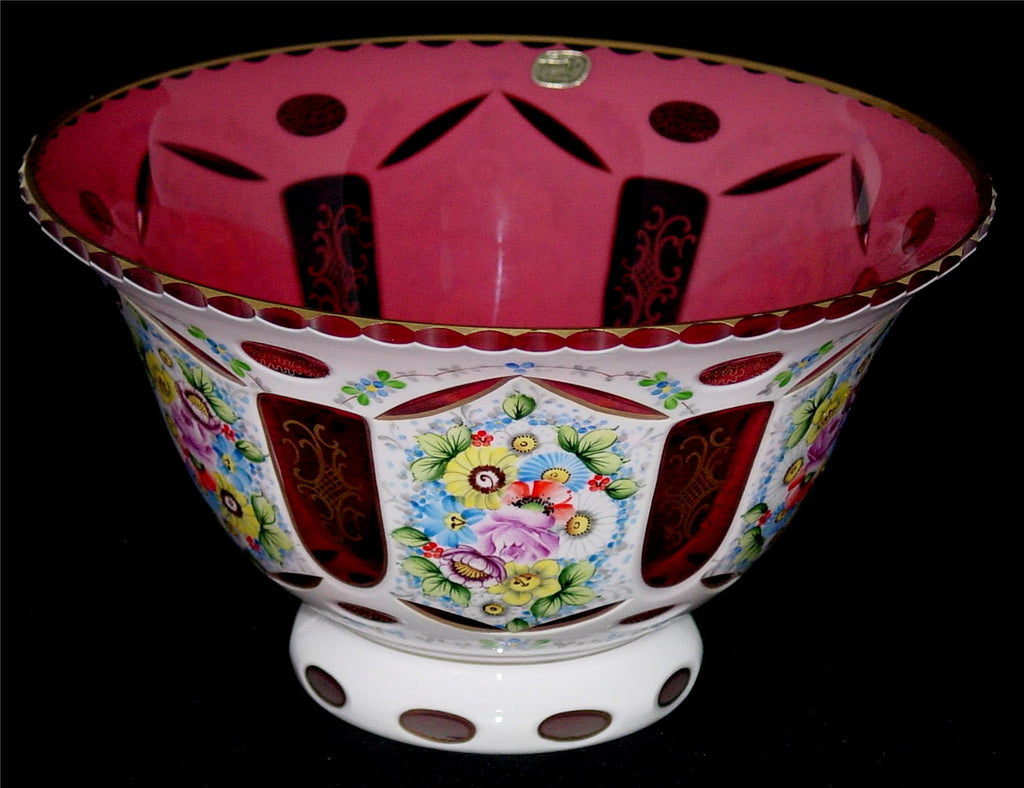 455013 Cranberry Overlay Bowl W/Lots Of Painted Flowers, Cutting, Bohemian Glassware, Kosherak, - ReeceFurniture.com - Free Local Pick Ups: Frankenmuth, MI, Indianapolis, IN, Chicago Ridge, IL, and Detroit, MI