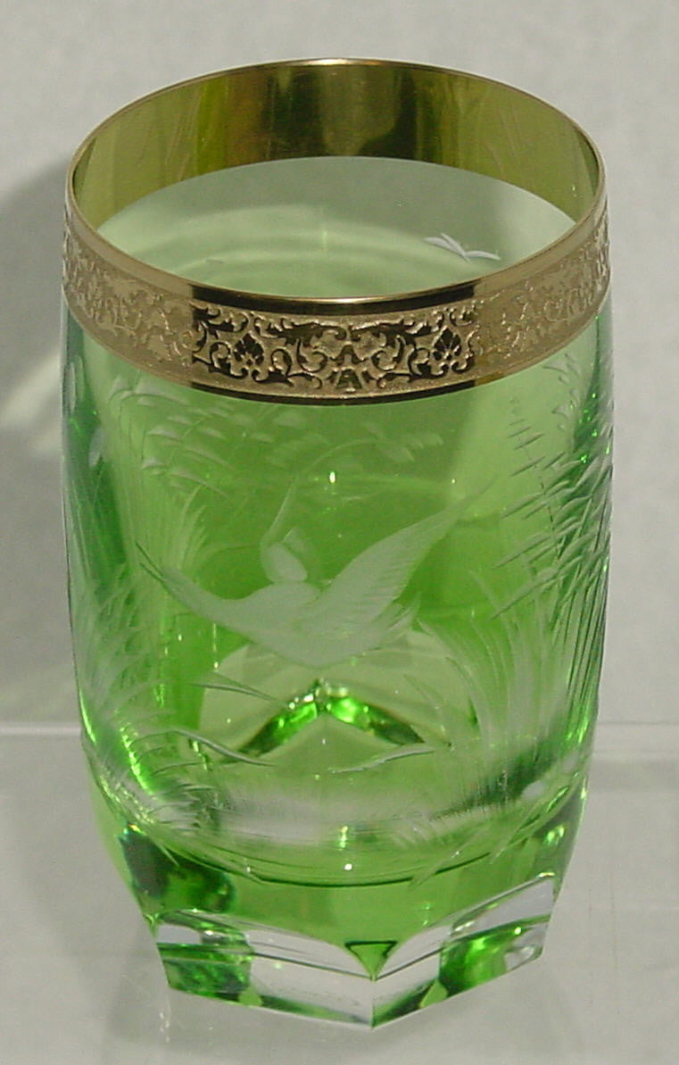 455021 Green Cased W/Engraved Duck In Flight Signed Moser, Fancy, Bohemian Glassware, Kosherak, - ReeceFurniture.com - Free Local Pick Ups: Frankenmuth, MI, Indianapolis, IN, Chicago Ridge, IL, and Detroit, MI