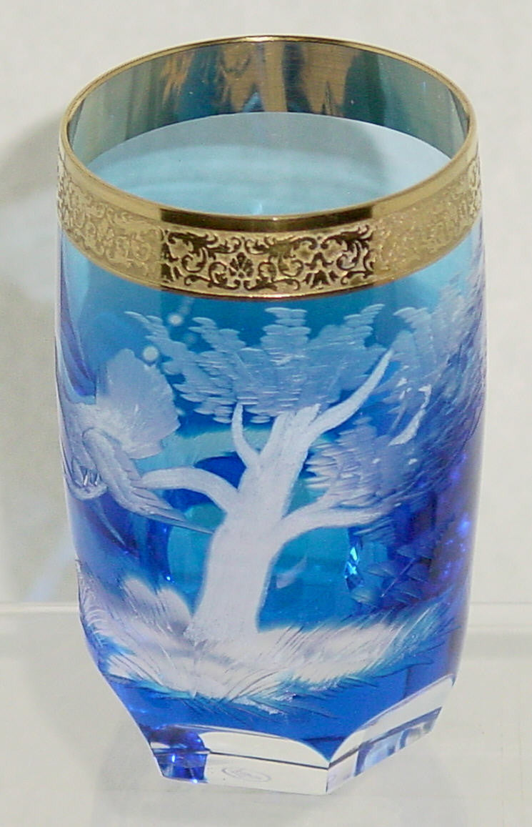 455023 Blue Cased W/Engraved Turkey In Tree, Signed Moser, Fancy, Bohemian Glassware, Kosherak, - ReeceFurniture.com - Free Local Pick Ups: Frankenmuth, MI, Indianapolis, IN, Chicago Ridge, IL, and Detroit, MI