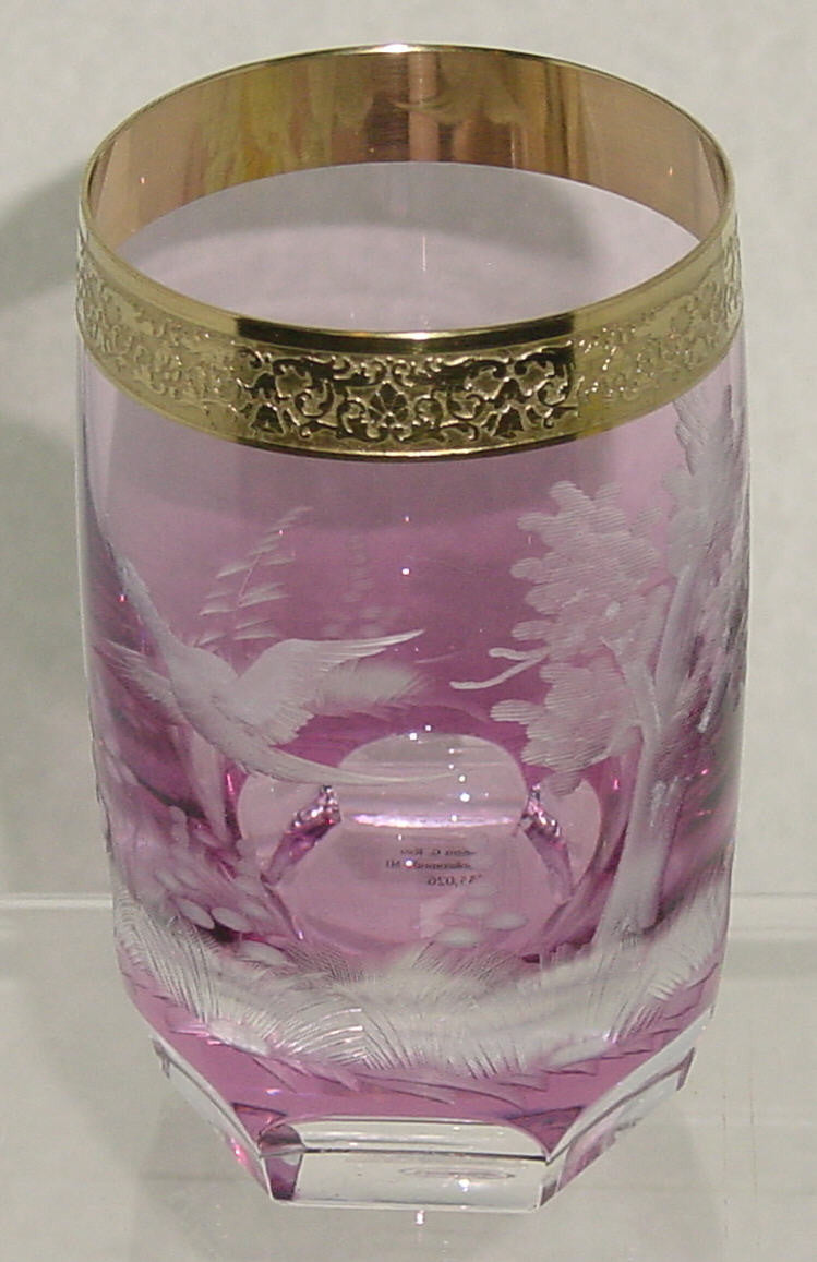 455026 Amethyst Cased W/Engraved Pheasant In Flight, Signed Moser, Bohemian Glassware, Kosherak, - ReeceFurniture.com - Free Local Pick Ups: Frankenmuth, MI, Indianapolis, IN, Chicago Ridge, IL, and Detroit, MI