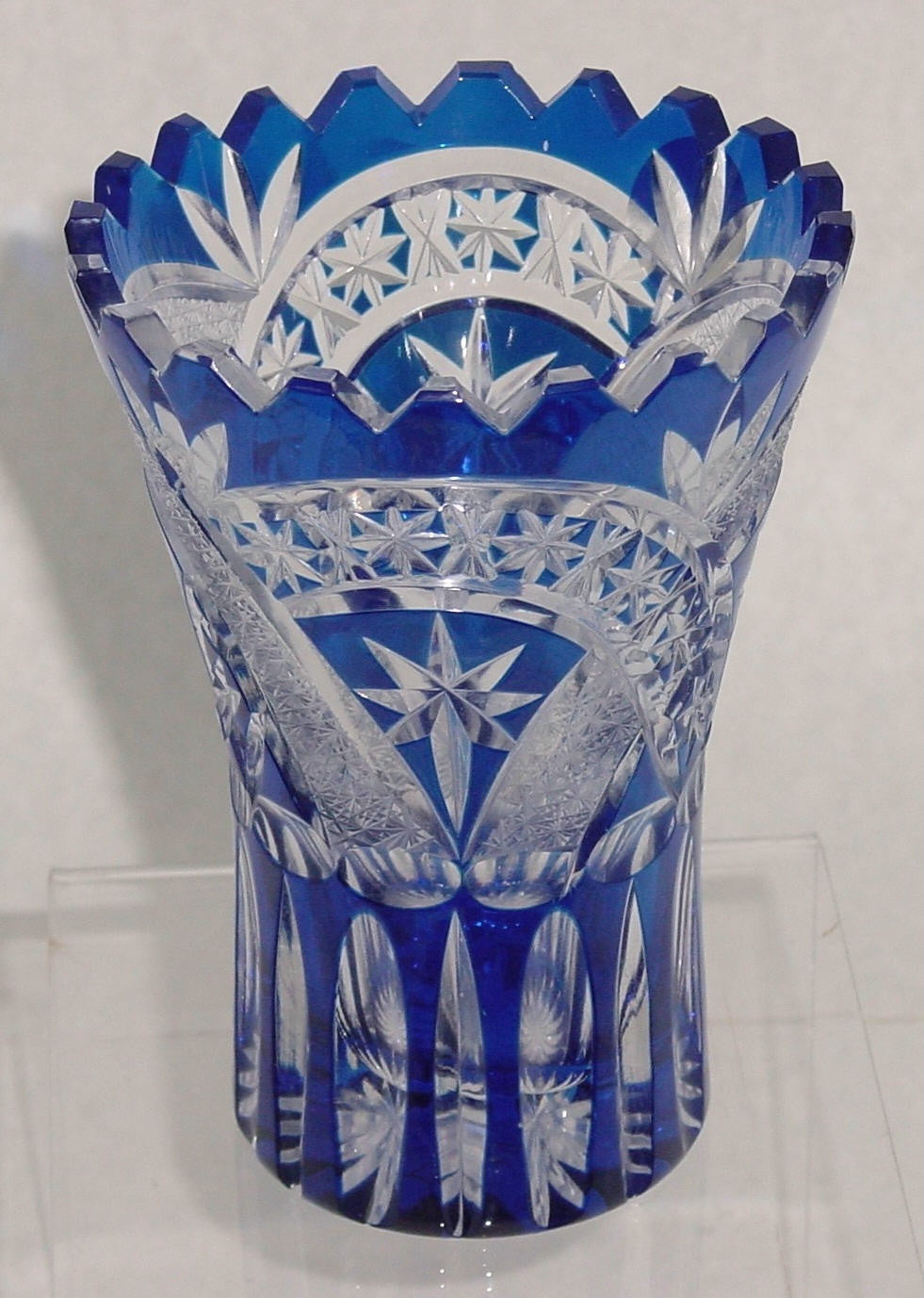 455028 Blue Cased W/Star Cuts & Rich Cut Panels Made In E. Germany, Bohemian Glassware, Kosherak, - ReeceFurniture.com - Free Local Pick Ups: Frankenmuth, MI, Indianapolis, IN, Chicago Ridge, IL, and Detroit, MI