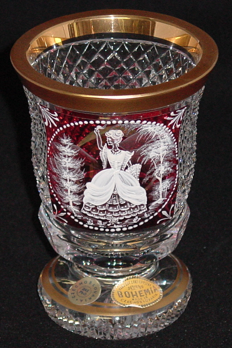 455030 Crystal W/Flashed Cranb Rect Panel, Pnt Lady & Trees In Whit, Bohemian Glassware, Kosherak, - ReeceFurniture.com - Free Local Pick Ups: Frankenmuth, MI, Indianapolis, IN, Chicago Ridge, IL, and Detroit, MI