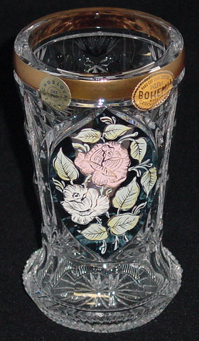 455032 Crystal Glass With Blue Flashed Panel Of Painted Flowers & Leaves Outlined With Gold, Gold Rim, Cut Star On Bottom, Cuts On Base & Back