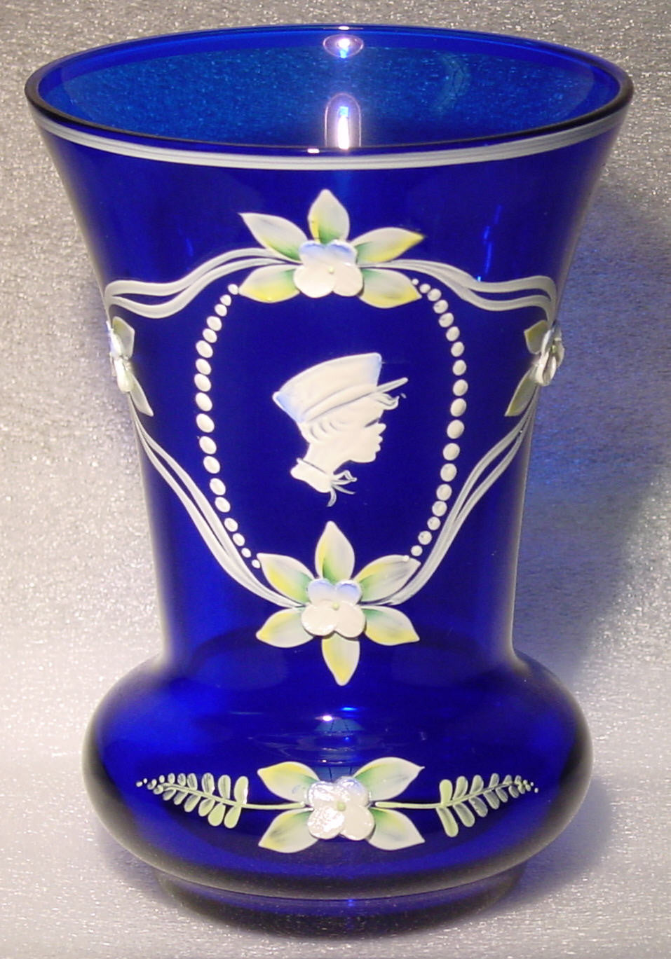 455043 Cobalt Blue W/5 Heavy Flowers & Boy Painted In White In Oval, Bohemian Glassware, Kosherak, - ReeceFurniture.com - Free Local Pick Ups: Frankenmuth, MI, Indianapolis, IN, Chicago Ridge, IL, and Detroit, MI