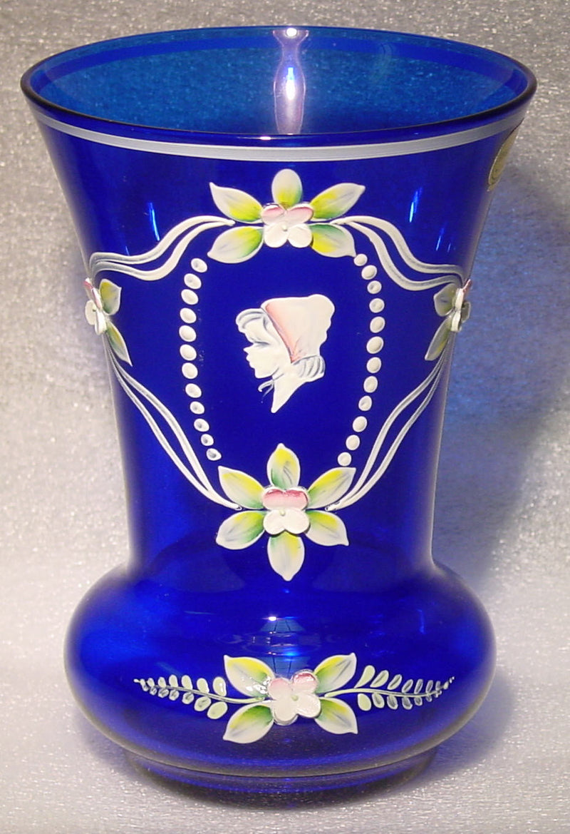 455044 Cobalt Blue W/5 Heavy Pntd Flowers & Girl Painted In White, Bohemian Glassware, Kosherak, - ReeceFurniture.com - Free Local Pick Ups: Frankenmuth, MI, Indianapolis, IN, Chicago Ridge, IL, and Detroit, MI