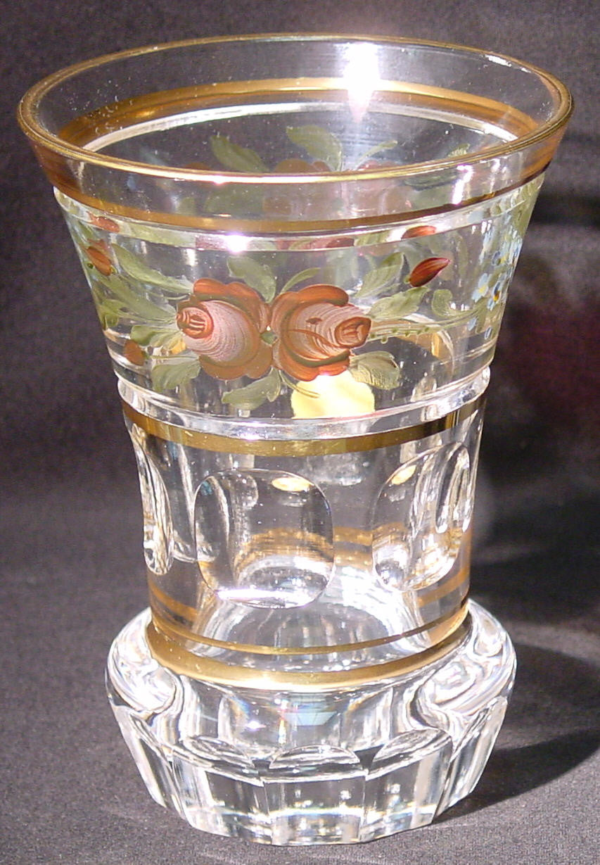455050 Crystal W/Band Of Pntd Flowers Around Top-6 Rect Cuts On, Bohemian Glassware, Kosherak, - ReeceFurniture.com - Free Local Pick Ups: Frankenmuth, MI, Indianapolis, IN, Chicago Ridge, IL, and Detroit, MI
