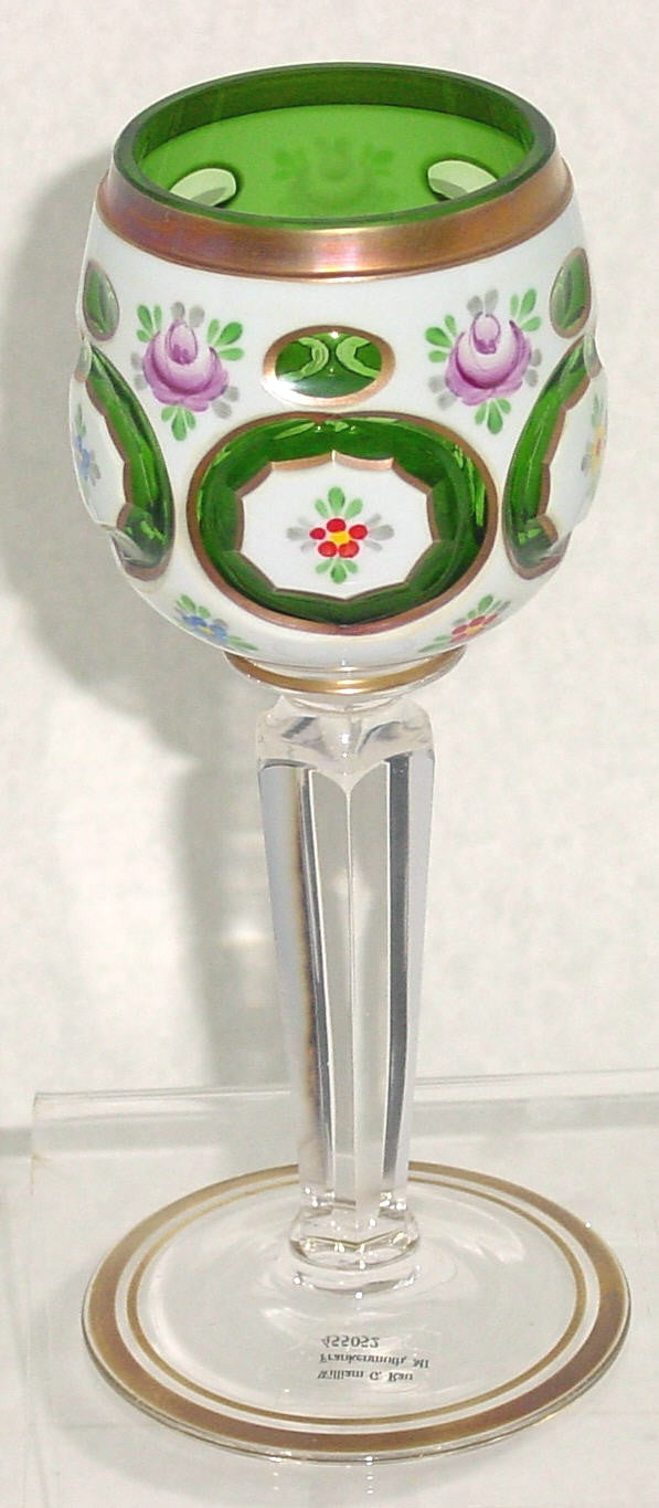 455052 Green Overlay Goblet On Crystal Flat 6 Sided Stem-5 Oval Cut, Bohemian Glassware, Kosherak, - ReeceFurniture.com - Free Local Pick Ups: Frankenmuth, MI, Indianapolis, IN, Chicago Ridge, IL, and Detroit, MI