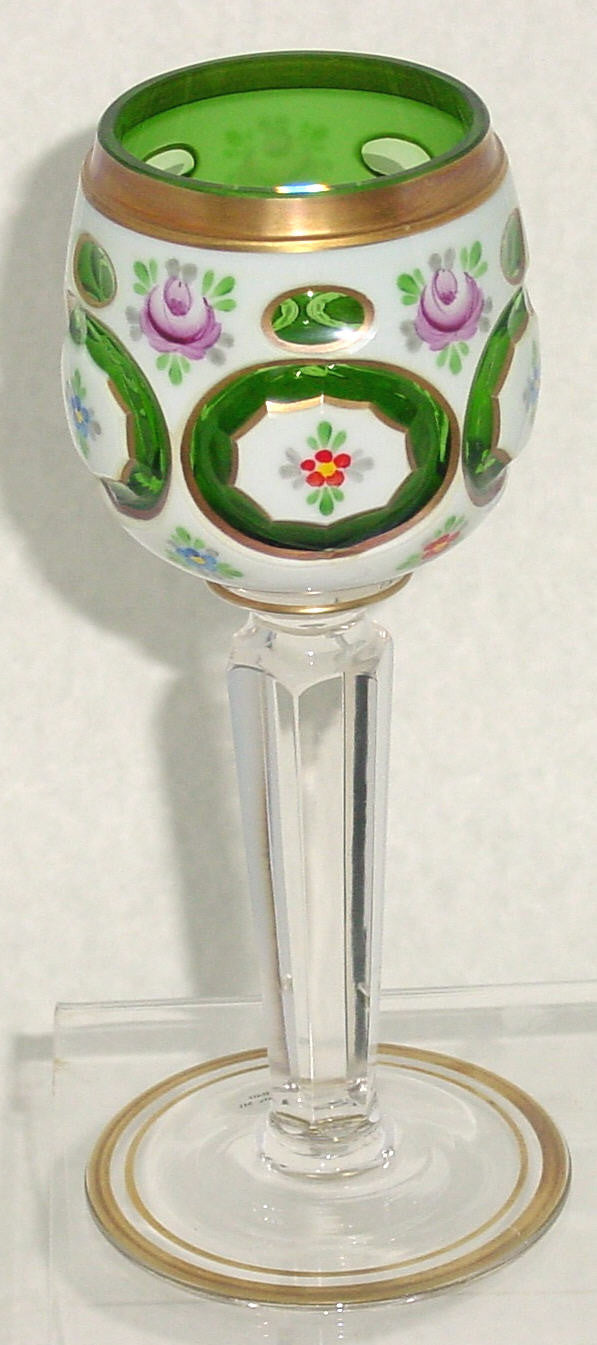 455053 Green Overlay Goblet On Crystal Flat 6 Sided Stem-5 Oval Cut, Bohemian Glassware, Kosherak, - ReeceFurniture.com - Free Local Pick Ups: Frankenmuth, MI, Indianapolis, IN, Chicago Ridge, IL, and Detroit, MI