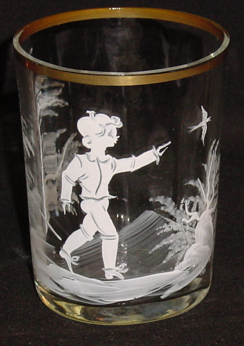 455056 Crystal Tumbler W/White Pntd Mary Gregor Boy, Bird & Trees,, Bohemian Glassware, Kosherak, - ReeceFurniture.com - Free Local Pick Ups: Frankenmuth, MI, Indianapolis, IN, Chicago Ridge, IL, and Detroit, MI