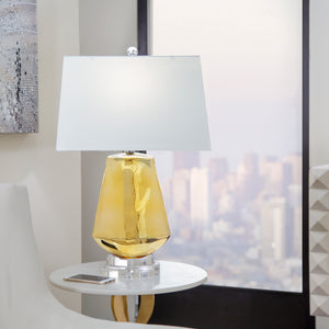 "Glass Diamond Shape Table Lamp26"", Gold"