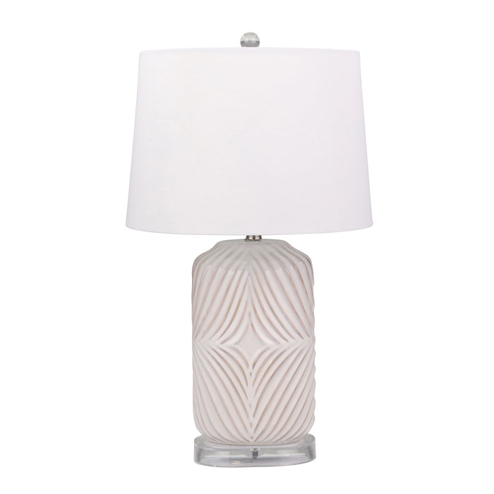 "Ceramic Barrel Table Lamp 28"",White"