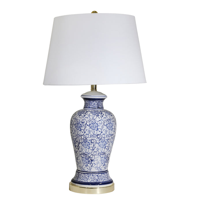 "Ceramic Floral Print Table Lamp 31"", Blue/White"
