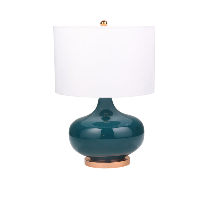 "Glass Round Genie Table Lamp 26"", Green"