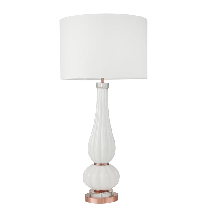 "Textured Glass Double Gourd Table Lamp 37"", White"