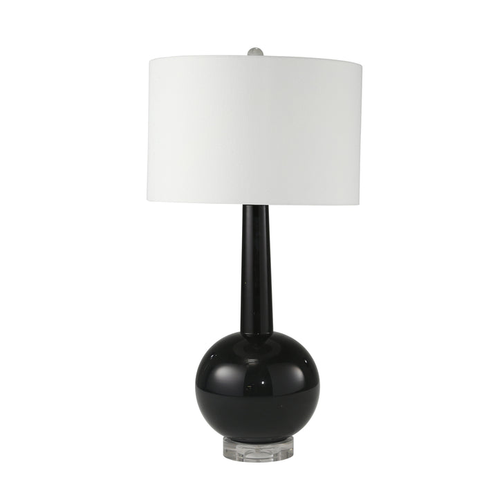 "Glass Skinny Top W/ Round Bottom Table Lamp 27"", Black"