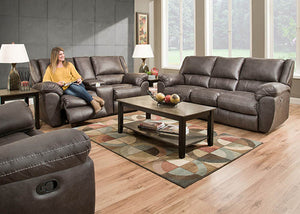 50433S-BR Shiloh Granite Double Reclining Sofa, Motion Upholstery, Simmons, - ReeceFurniture.com - Free Local Pick Ups: Frankenmuth, MI, Indianapolis, IN, Chicago Ridge, IL, and Detroit, MI