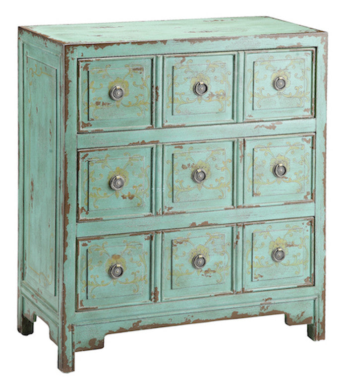 57295 - Anna Apothecary Vintage Green Chest - Free Shipping!, Accent Chests, Stein World, - ReeceFurniture.com - Free Local Pick Ups: Frankenmuth, MI, Indianapolis, IN, Chicago Ridge, IL, and Detroit, MI