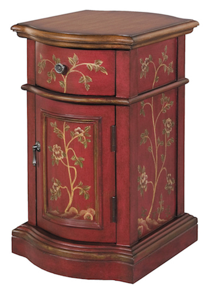 58527 - Reia Antique Red, Brown Accent Cabinet, Accent Cabinets, Stein World, - ReeceFurniture.com - Free Local Pick Ups: Frankenmuth, MI, Indianapolis, IN, Chicago Ridge, IL, and Detroit, MI