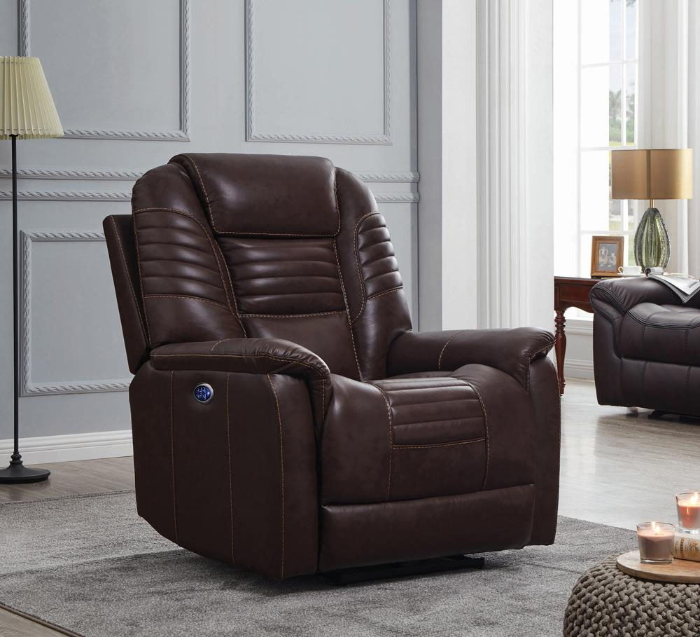 G608961 - Upholstered Power^3 Recliner With Power Headrest - Brown or Black