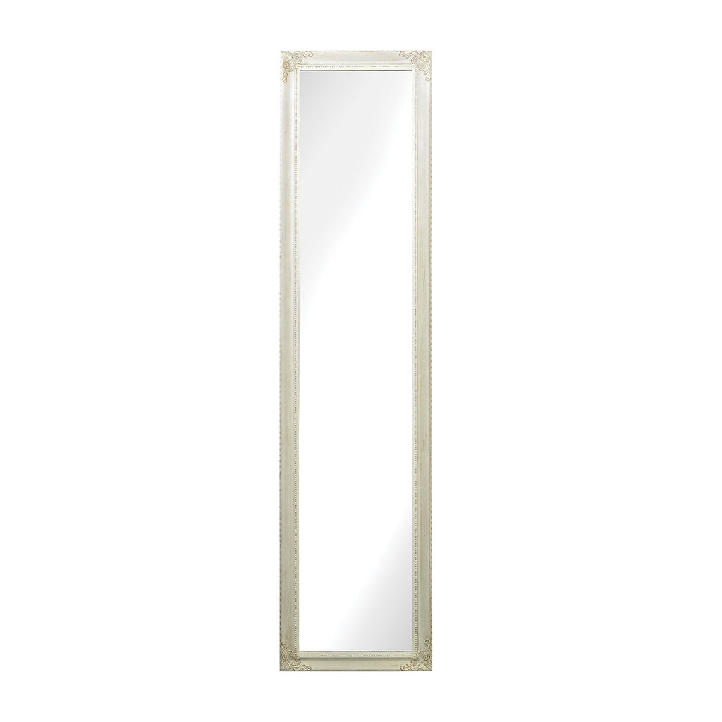 6100-015 Masalia Floor Mirror In Antique White, Mirror, Sterling, - ReeceFurniture.com - Free Local Pick Ups: Frankenmuth, MI, Indianapolis, IN, Chicago Ridge, IL, and Detroit, MI