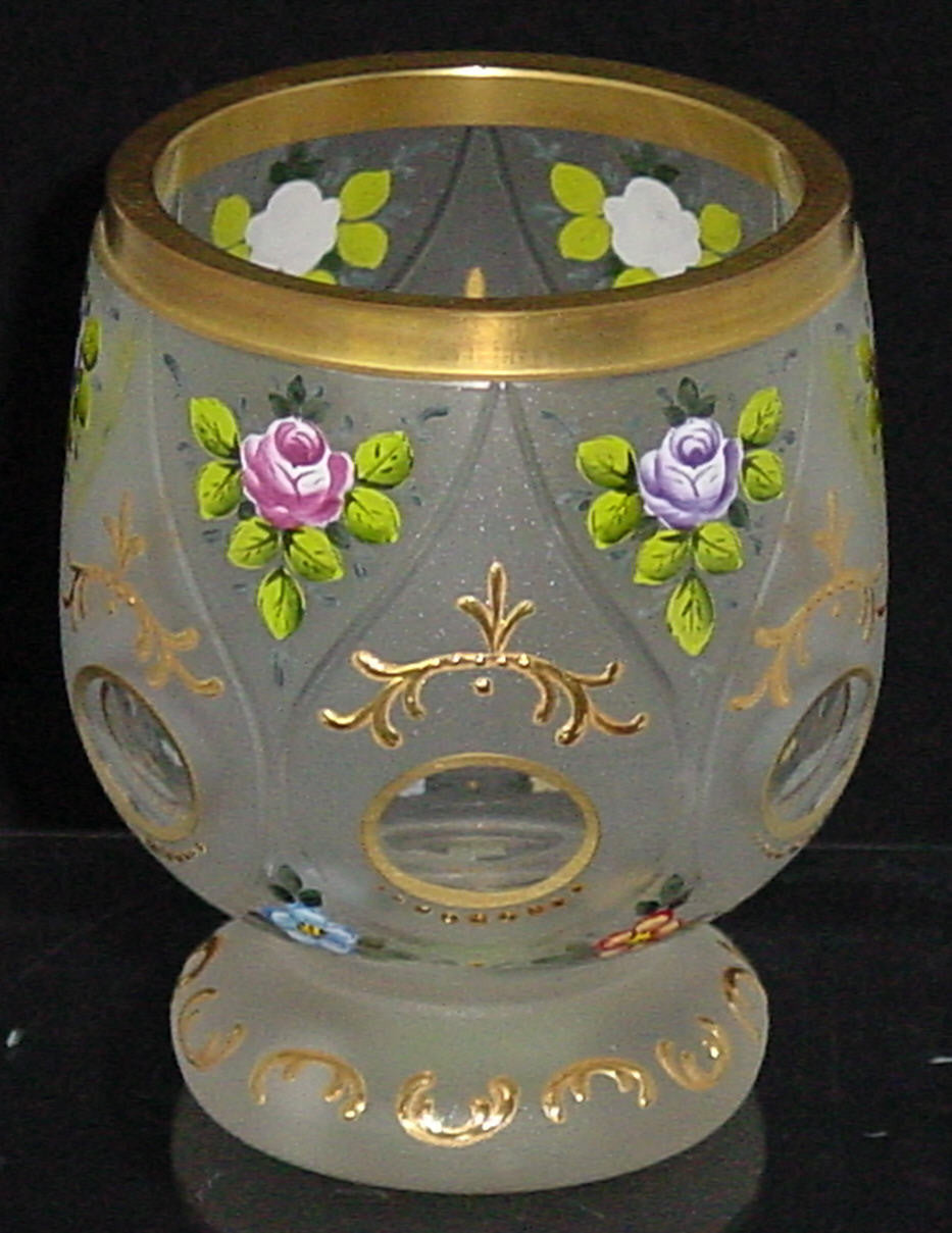 629116 Short Crystal Satin Glass With 6 Teardrop Panels Oval Cuts With Gold Decoration and Painted Flowers, Bohemian Glassware, Rimpler, - ReeceFurniture.com - Free Local Pick Ups: Frankenmuth, MI, Indianapolis, IN, Chicago Ridge, IL, and Detroit, MI