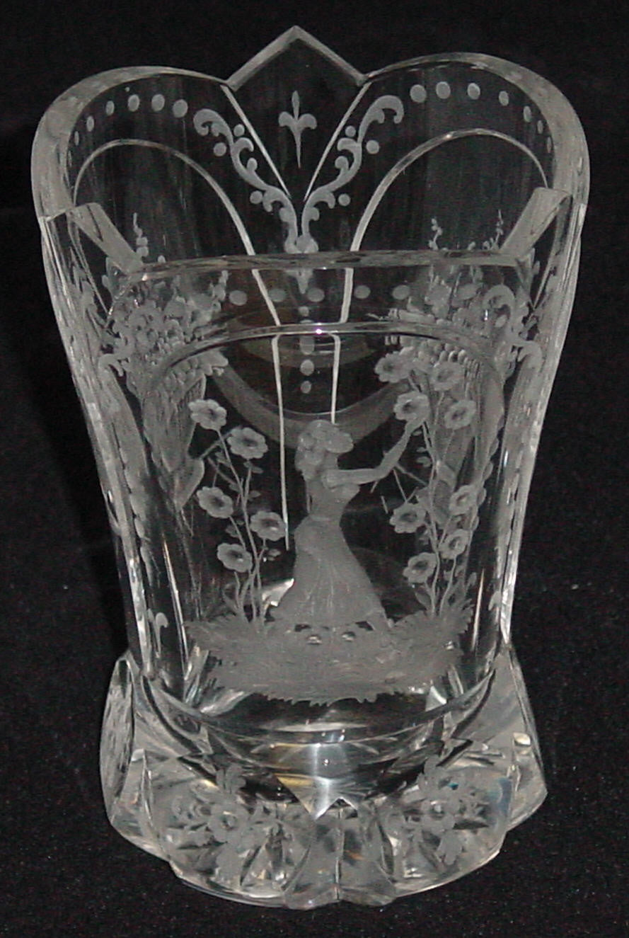 629125 Crystal W/3 Engraved Panel, 1-Lady & Flowers, Basket Of Flwr, Bohemian Glassware, Rimpler, - ReeceFurniture.com - Free Local Pick Ups: Frankenmuth, MI, Indianapolis, IN, Chicago Ridge, IL, and Detroit, MI