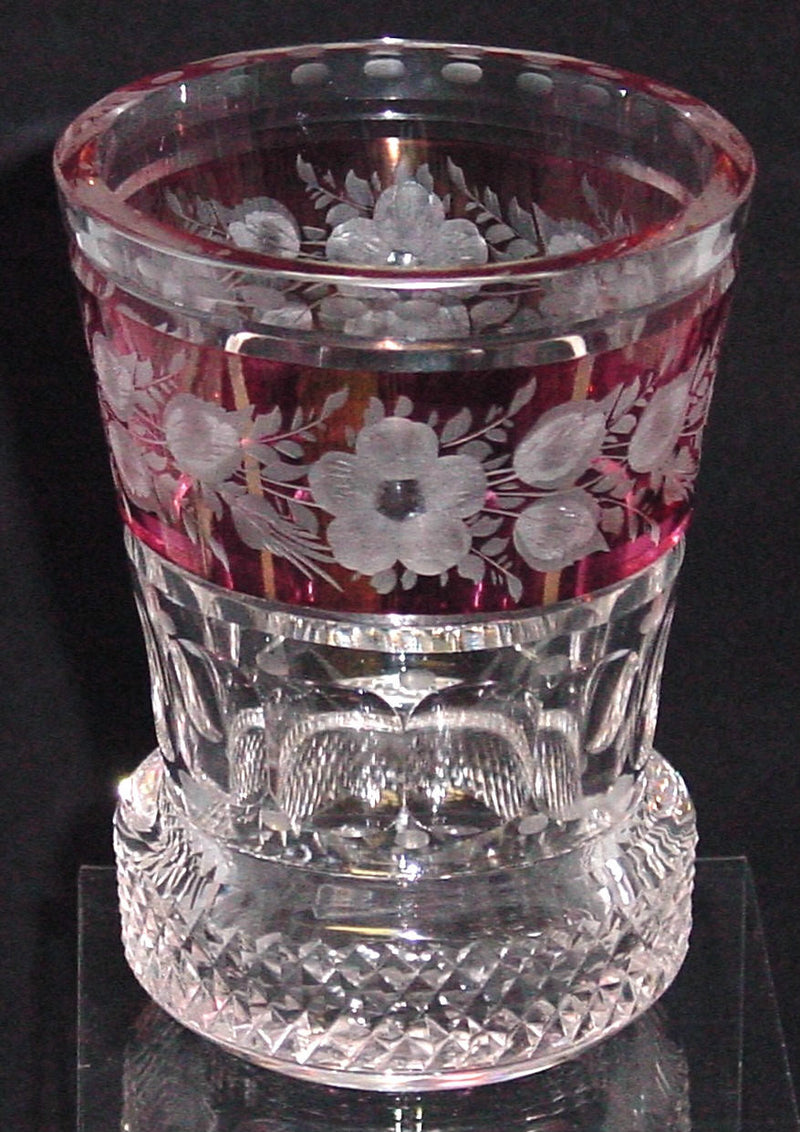 629138 Crystal With Cranberry Flashed Band Around With Engraved Flowers, 6 Flat Cuts Around, Diamond Cuts On Base, Cut Dots, Bohemian Glassware, Rimpler, - ReeceFurniture.com - Free Local Pick Ups: Frankenmuth, MI, Indianapolis, IN, Chicago Ridge, IL, and Detroit, MI