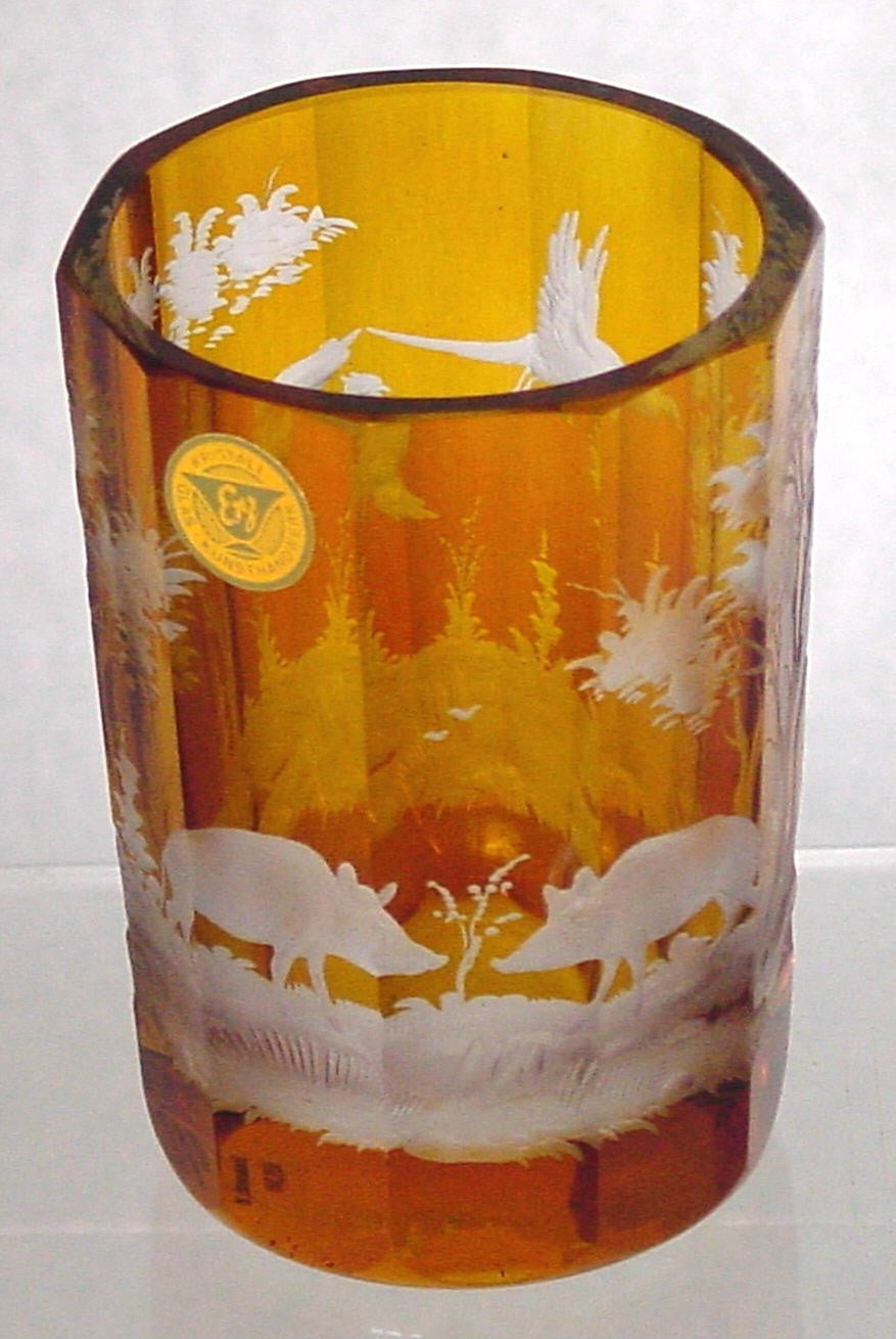 629200 Amber Flashed W/10 Flat Sides & Engraved Boars, Trees, Large, Bohemian Glassware, Rimpler, - ReeceFurniture.com - Free Local Pick Ups: Frankenmuth, MI, Indianapolis, IN, Chicago Ridge, IL, and Detroit, MI