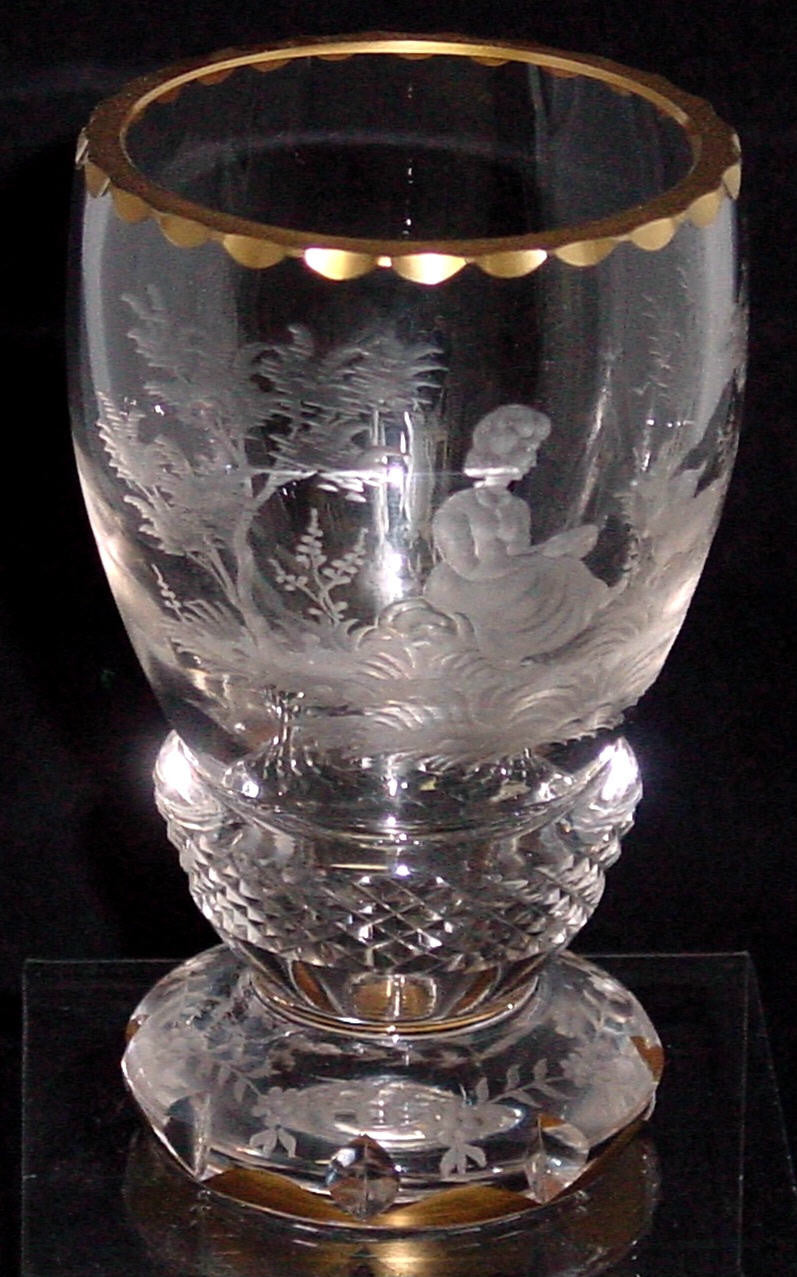 629242 Crystal Engraved Girl Dog & Trees, Diamond Cuts Around Stem & Engraved On Base, Cuts & Gold On Rim & Base, Bohemian Glassware, Rimpler, - ReeceFurniture.com - Free Local Pick Ups: Frankenmuth, MI, Indianapolis, IN, Chicago Ridge, IL, and Detroit, MI