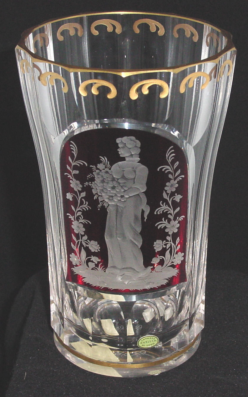 629274 Tall Crystal Vase With Long Cuts & Ruby Flashed Engraved Panel Of Lady With Flowers, Gold Rim At Base Gold Decor At Top & Rim Signed Ri 86, Bohemian Glassware, Rimpler, - ReeceFurniture.com - Free Local Pick Ups: Frankenmuth, MI, Indianapolis, IN, Chicago Ridge, IL, and Detroit, MI