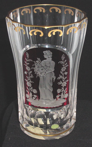 629274 Tall Crystal Vase With Long Cuts Ruby Flashed Engraved