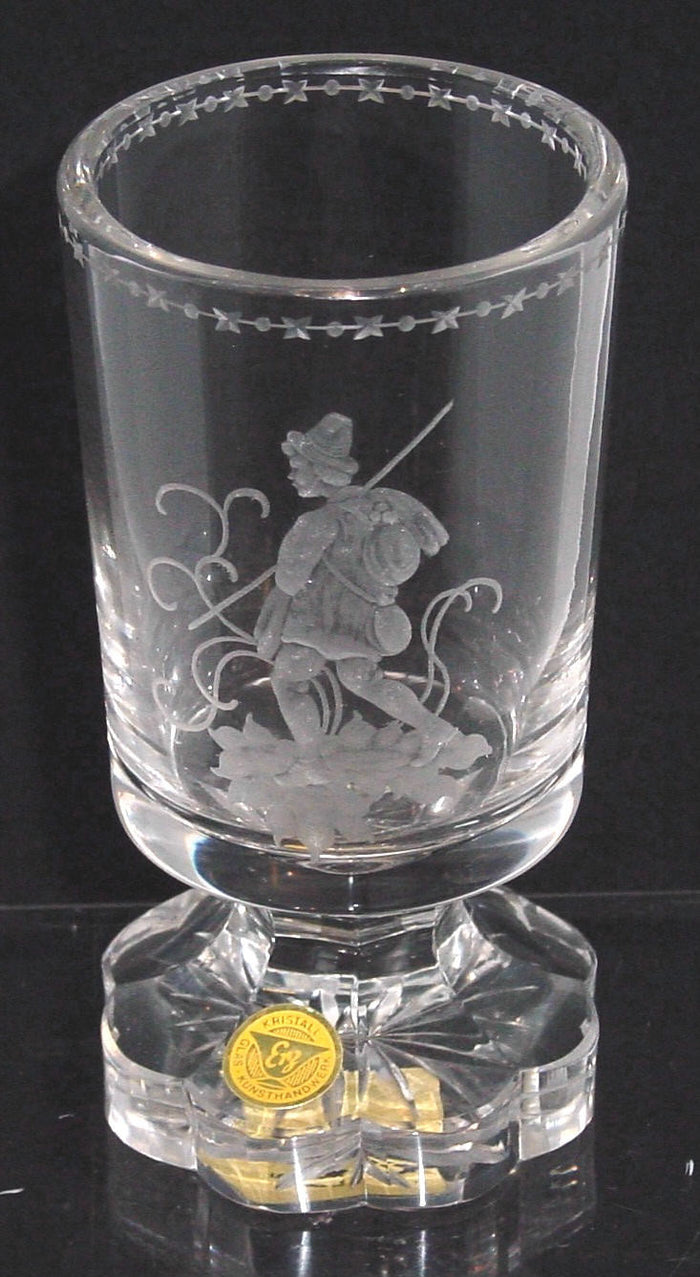 629280 Crystal Straight Round Side Glass W/Engraved Man Walking, X & O's on Rim
