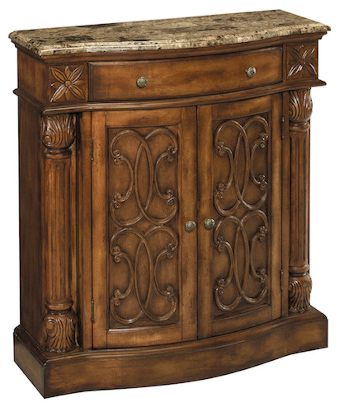 65164 - William Aged Pecan w/Brown Calico Marble Accent Cabinet - Free Shipping!, Accent Cabinets, Stein World, - ReeceFurniture.com - Free Local Pick Ups: Frankenmuth, MI, Indianapolis, IN, Chicago Ridge, IL, and Detroit, MI