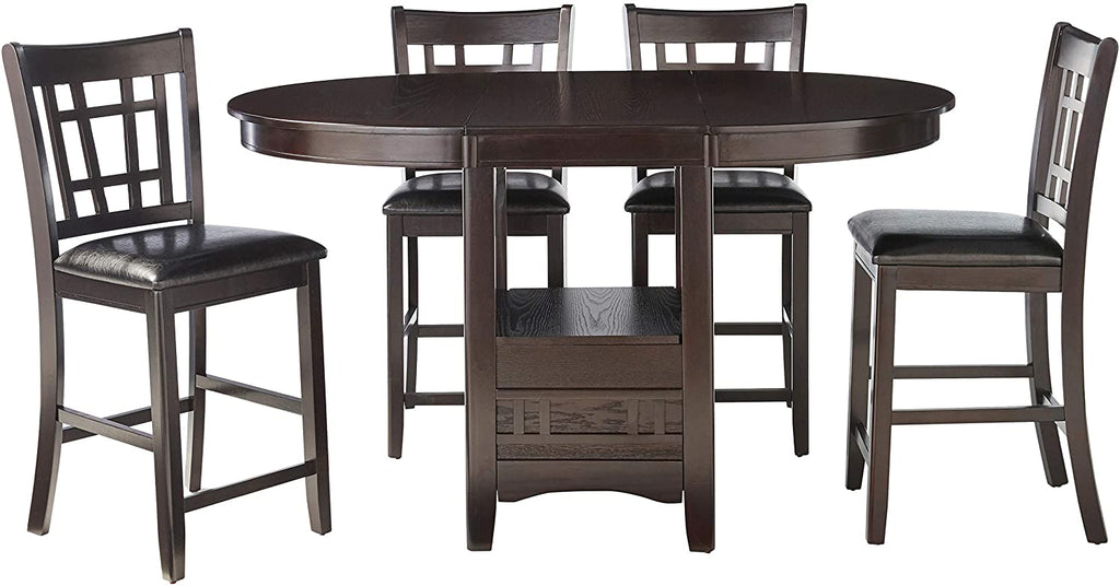 G102888 - Lavon Counter Height Dining - Black Faux Leather With Espresso