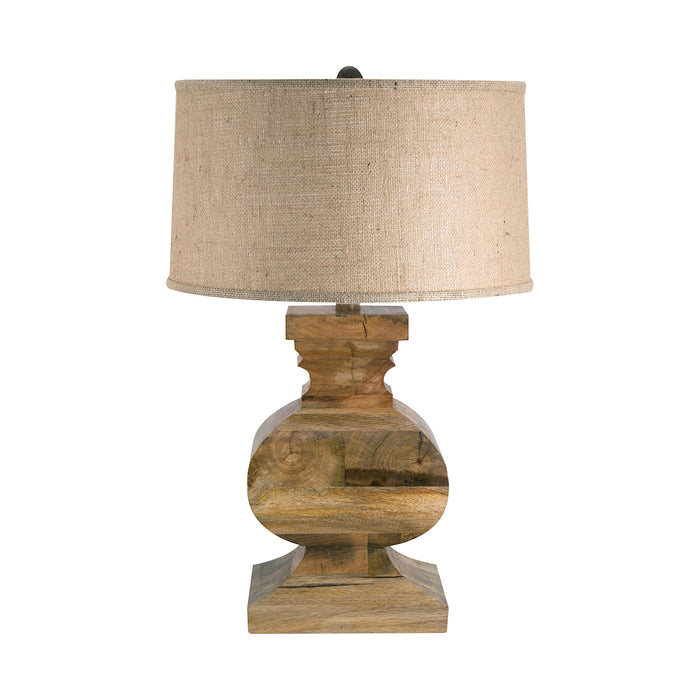 807 Curved Block Solid Wood Table Lamp