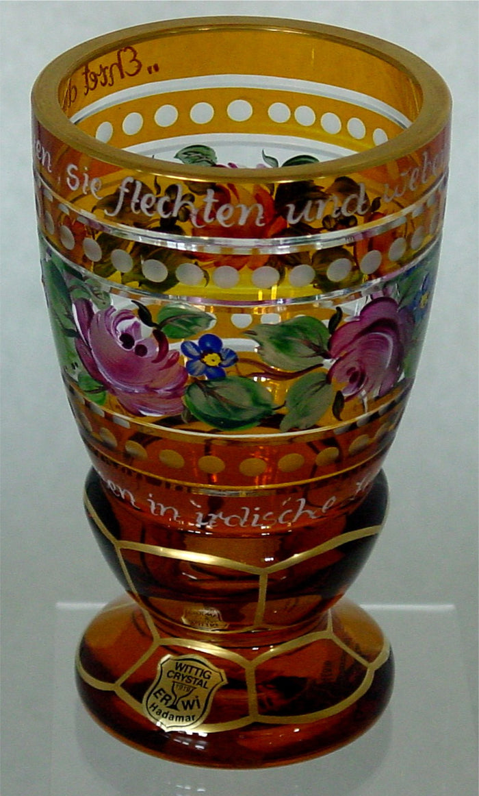 844016 Amber Over Crystal Glass Handpainted Flowrs & Gold Decor W/German Phrases