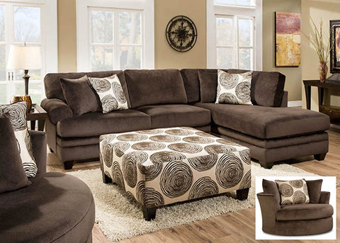 8642 Groovy Chocolate 2 Piece Sectional