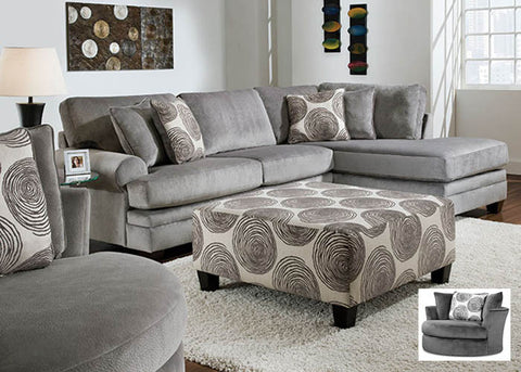 8642 Groovy Smoke 2 Piece Sectional