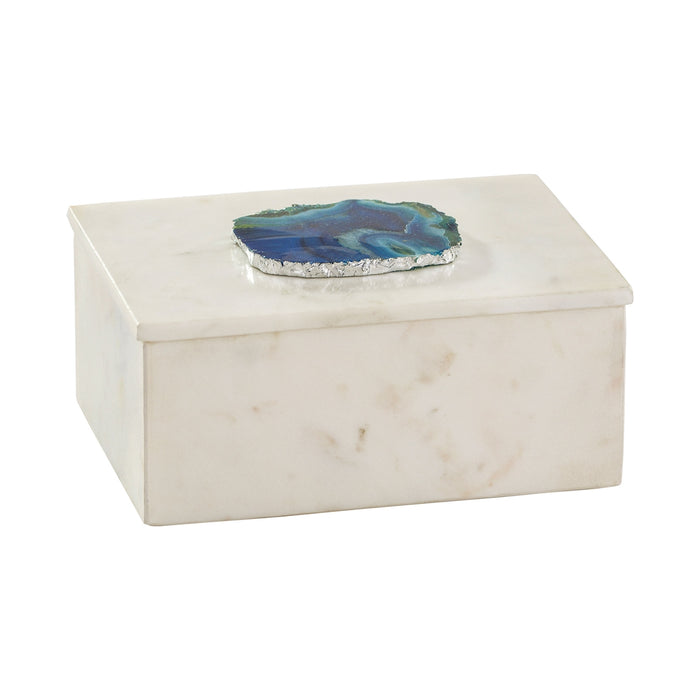 8989-010 Marble And Blue Agate Box