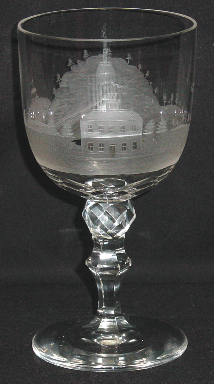 910000 Crystal W/Engraved Building & Hills & Trees, Etc Around. A, Bohemian Glassware, Antique, - ReeceFurniture.com - Free Local Pick Ups: Frankenmuth, MI, Indianapolis, IN, Chicago Ridge, IL, and Detroit, MI
