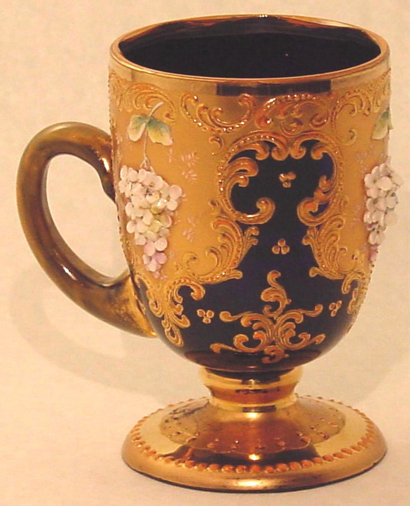 910002 Dark Blue Cup W/Handle, Heavy Pntd Fancy Gold & Heavy Pntd, Bohemian Glassware, Antique, - ReeceFurniture.com - Free Local Pick Ups: Frankenmuth, MI, Indianapolis, IN, Chicago Ridge, IL, and Detroit, MI