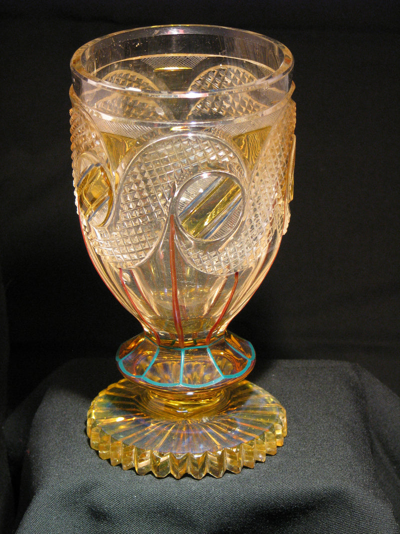 910007 Crystal W/Amber Flashing On Circles & Base, 5 Round Cuts W/, Bohemian Glassware, Antique, - ReeceFurniture.com - Free Local Pick Ups: Frankenmuth, MI, Indianapolis, IN, Chicago Ridge, IL, and Detroit, MI