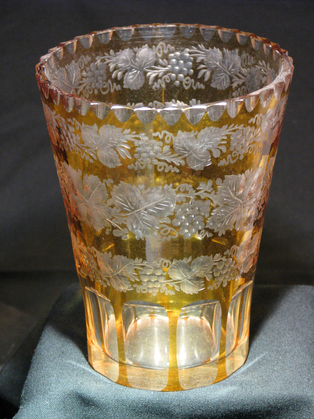 910012 Amber Flashed W/3 Rows Of Engraved Leaves & Grapes, 10 Rect, Bohemian Glassware, Antique, - ReeceFurniture.com - Free Local Pick Ups: Frankenmuth, MI, Indianapolis, IN, Chicago Ridge, IL, and Detroit, MI