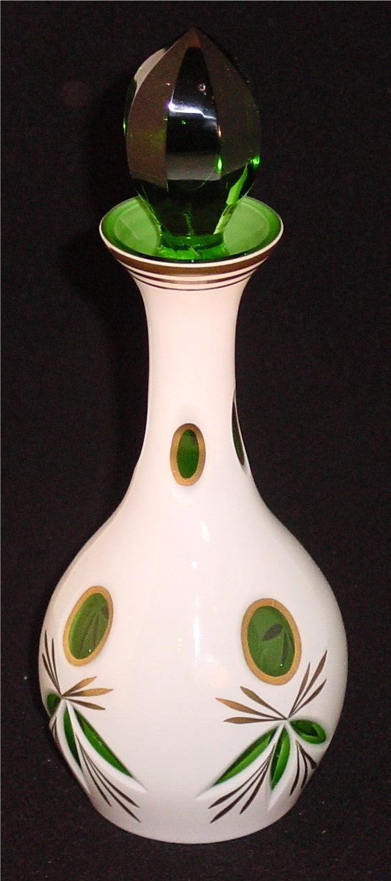910019 Green Overlay Bottle W/Green Cut Stopper, 4 Sets Of Oval, Bohemian Glassware, Antique, - ReeceFurniture.com - Free Local Pick Ups: Frankenmuth, MI, Indianapolis, IN, Chicago Ridge, IL, and Detroit, MI