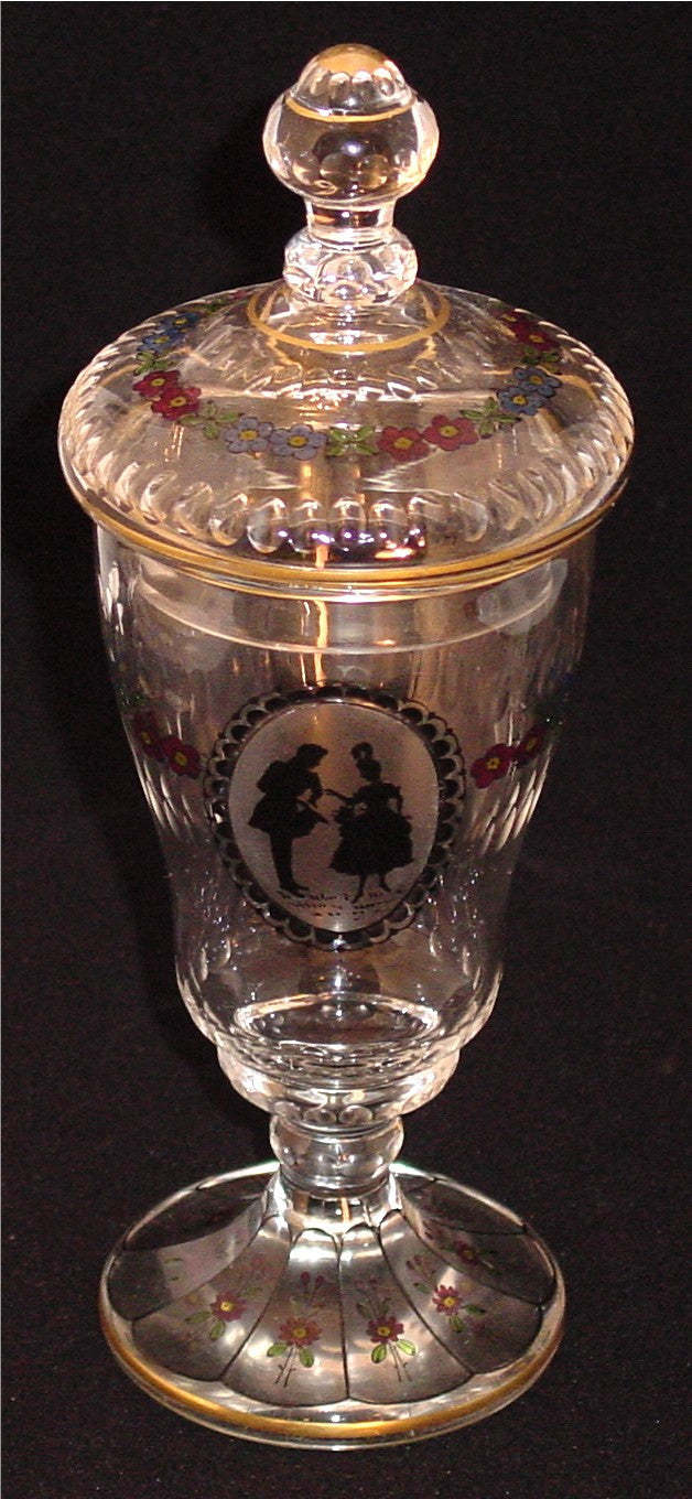 910024 Crystal W/Cut Oval Circle Of Pntd Man & Lady In Black, Pntd, Bohemian Glassware, Antique, - ReeceFurniture.com - Free Local Pick Ups: Frankenmuth, MI, Indianapolis, IN, Chicago Ridge, IL, and Detroit, MI