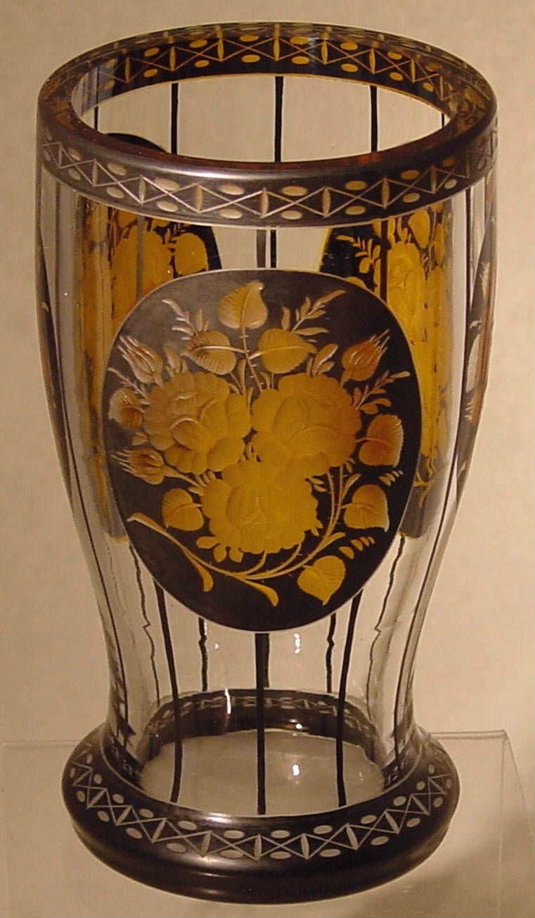 910031 Crystal W/3 Oval Flashed Black Panels Of Engraved Flowers Fl, Bohemian Glassware, Antique, - ReeceFurniture.com - Free Local Pick Ups: Frankenmuth, MI, Indianapolis, IN, Chicago Ridge, IL, and Detroit, MI